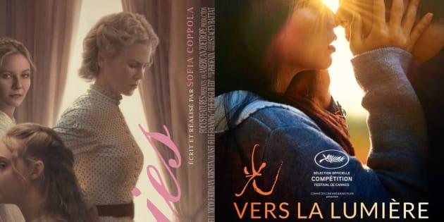 """Les affiches des films """"Les proies"""", """"Vers la lumière"""" et """"Le redoutable"""""""