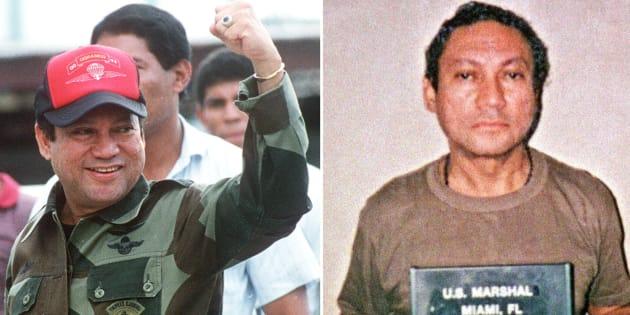 Manuel Noriega en octobre 1989 au Panama et en janvier 1990 à Miami (R).
