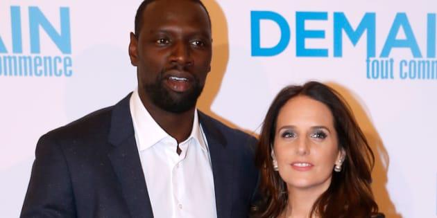 """Omar Sy en compagnie de sa femme Hélène pour l'avant-première du film """"Demain tout commence""""."""