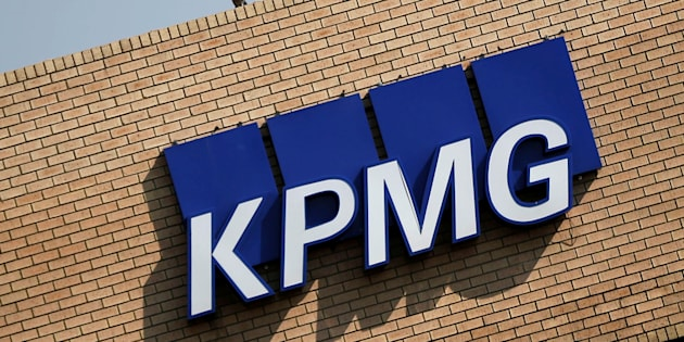 The KPMG logo is seen at the company's head offices in Parktown, Johannesburg.