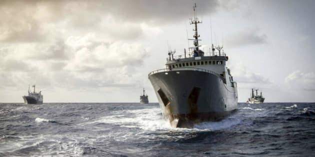 Un barco durante la pesca de merluza.
