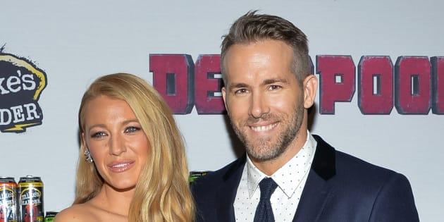 Ryan Reynolds y Blake Lively durante la presentación de 'Deadpool'.