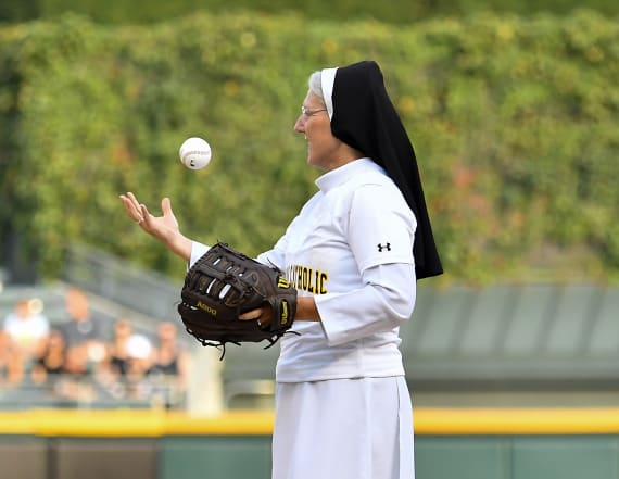 Nun steals show at MLB game with epic first pitch