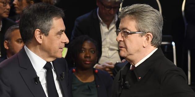 François Fillon et Jean-Luc Mélenchon lors du débat organisé par BFMTV et CNews le 4 avril.