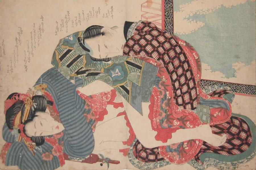 Obra 'Dia de Ano Novo' (1835) do artista japonês Keisai Eisen.