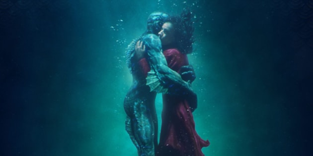"Actors Doug Jones and Sally Hawkins are seen in the 2017 poster for Guillermo del Toro's ""The Shape of Water."""