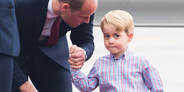 Prince William and Prince George of Cambridge arrive at Warsaw airport in July 2017. (Photo by Samir Hussein/Samir Hussein/WireImage)