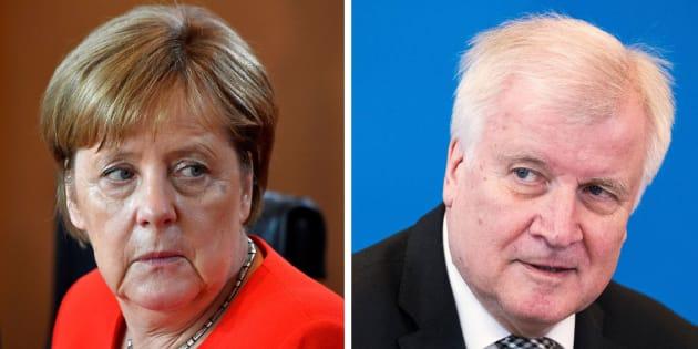 Combo con las imágenes de la canciller alemana, Angela Merkel, y su ministro del Interior, Horst Seehofer.