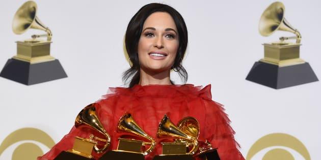 Kacey Musgraves, chanteuse country récompensée de quatre Grammy Awards à Los Angeles, le 10 février 2019.