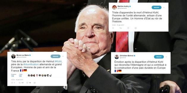 Les politiques français utilisent tous les mêmes mots pour rendre hommage à Helmut Kohl.