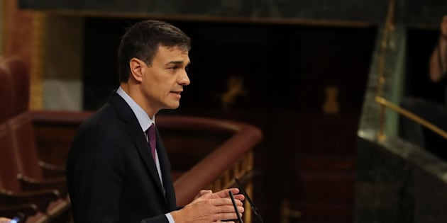 El presidente del Gobierno, Pedro Sánchez, durante su comparecencia en el Congreso este miércoles.