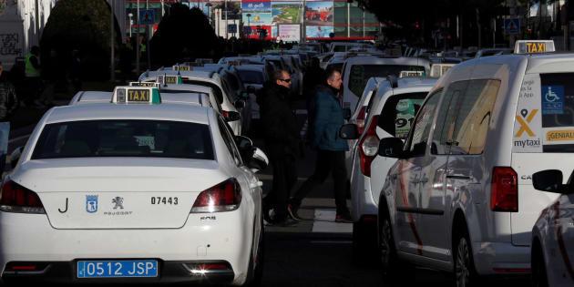 Taxistas en huelga.