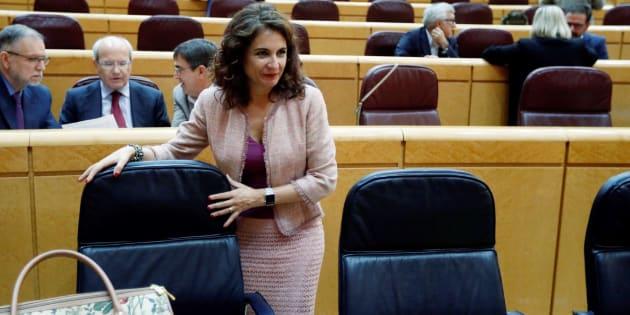 La ministra de Hacienda, María Jesús Montero, este lunes en el debate de presupuestos en el Senado.