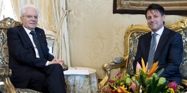 Giuseppe Conte durante su reunión con el presidente italiano, Sergio Mattarella.