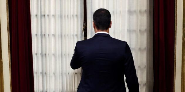Pedro Sánchez a su entrada al hemiciclo este miércoles.