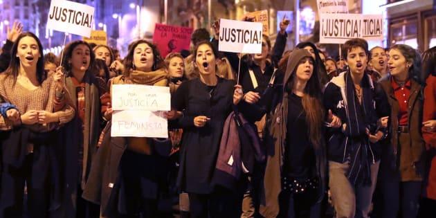"""Concentración en Madrid contra los """"abusos patriarcales"""" en la Justicia."""