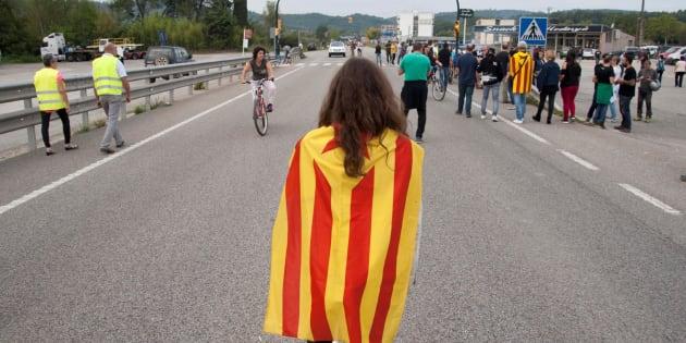 Un grupo de manifestantes durante la huelga general en Cataluña el martes pasado.