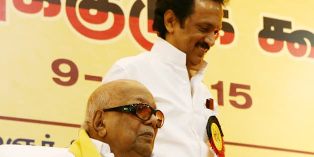 M Karunanidhi with his son MK Stalin. (Photo by Jaison G/India Today Group/Getty Images)