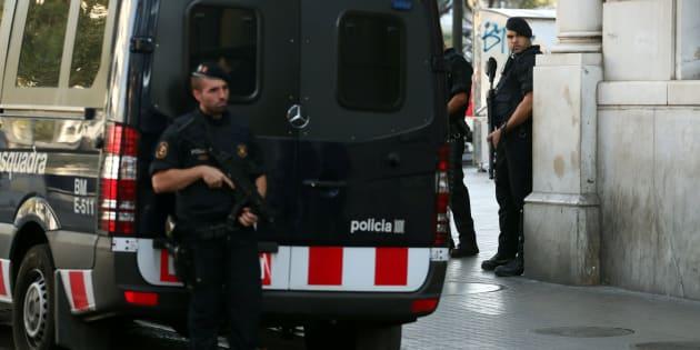 Imagen de los Mossos este viernes en Barcelona.