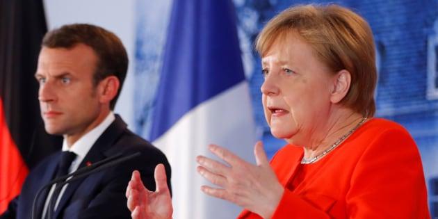Macron y Merkel, este martes.