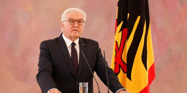 El presidente alemán, Frank-Walter Steinmeier, ofrece una rueda de prensa este lunes tras reunirse con Merkel.