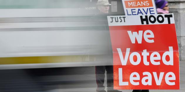 """""""Votamos irnos"""", reza esta pancarta a favor del Brexit."""