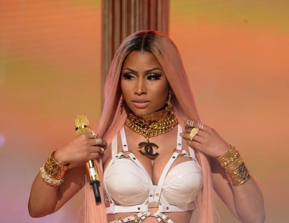 NIcki Minaj rocks bondage-style outfit