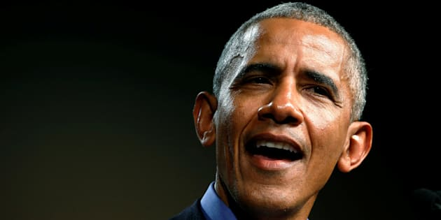 El expresidente de Barack Obama durante uno de los mítines del pasado jueves.