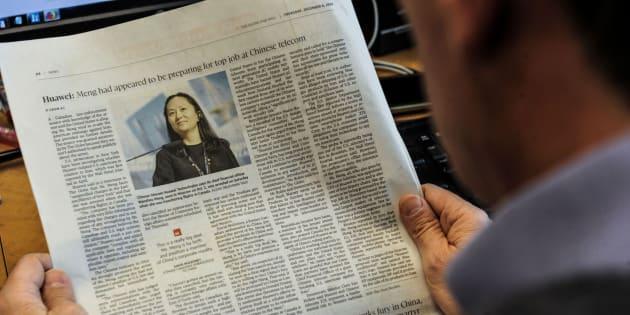 Un periódico se hace eco de la detención de la directora financiera de Huawei.