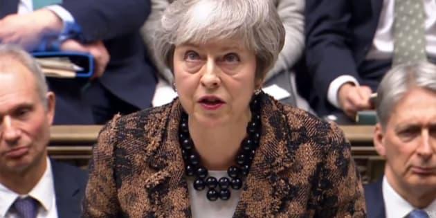 Theresa May, este lunes 21 de enero en el Parlamento británico.
