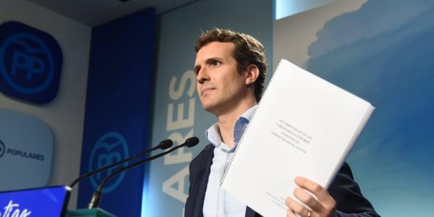 Pablo Casado, durante la rueda de prensa en la que ofreció explicaciones sobre su máster.