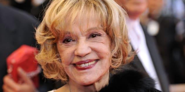 Jeanne Moreau en el pase de 'Vicky Cristina Barcelona', de Woody Allen, en el 61º Festival de Cine de Cannes, en mayo de 2008.