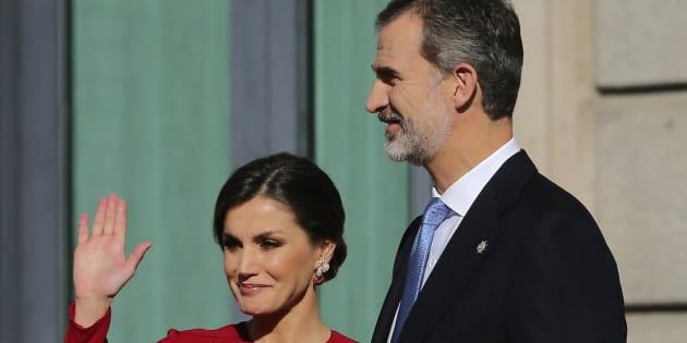 Los reyes Felipe VI y Letizia, en el aniversario de la Constitución en Madrid.