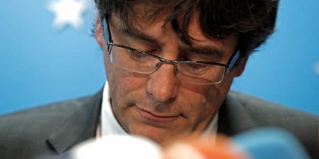 Carles Puigdemont, durante una rueda de prensa concedida en Bruselas el pasado octubre.