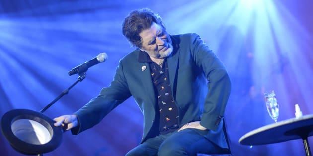 El cantante y compositor Joaquín Sabina durante el concierto de este sábado en Madrid.