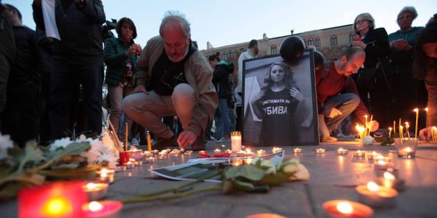 Acto por la memoria de la periodista búlgara asesinada, Viktoria Marinova.