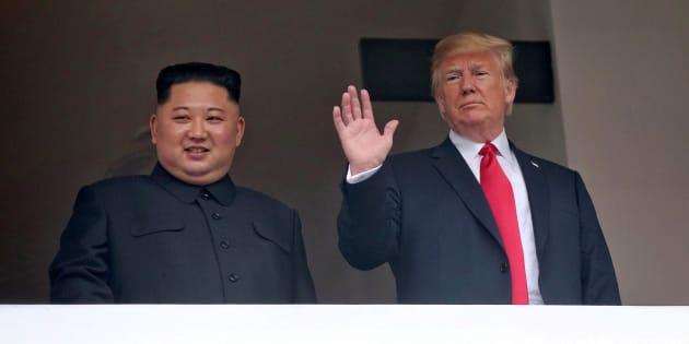 Imagen de Kim y Trump este martes.