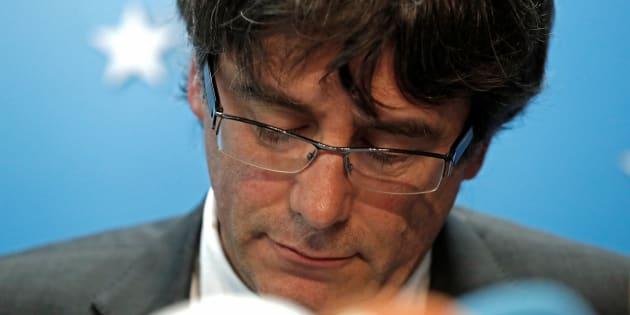 Carles Puigdemont durante una conferencia de prensa desde Bruselas, en una imagen de archivo.