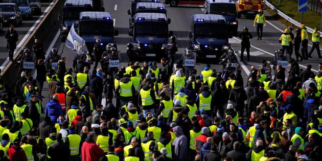Protesta de taxistas en Madrid.