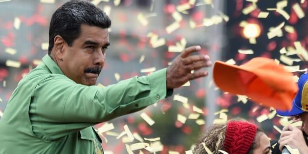 Nicolás Maduro, en el mitin de cierre de su campaña.