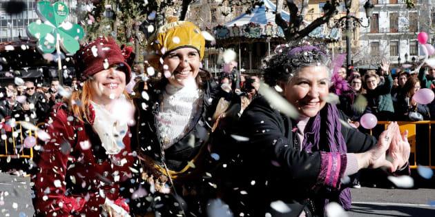 Las tres Magas de Enero, recorren la ciudad de Valencia.