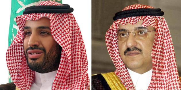 Combo de dos fotos de archivo facilitadas que muestra al príncipe Mohamed ibn Salman (izq) y al príncipe Mohamed bin Nayef (dcha).