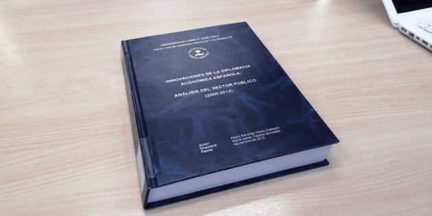 Portada de la tesis doctoral del presidente del Gobierno, Pedro Sánchez, en la Universidad Camilo José Cela.