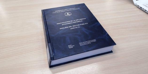 Portada de la tesis doctoral del presidente del Gobierno, Pedro Sánchez, que se encuentra en la Universidad Camilo José Cela, donde se puede consultar