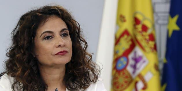 María Jesús Montero, ministra de Hacienda, en la rueda de prensa después del Consejo de Ministros
