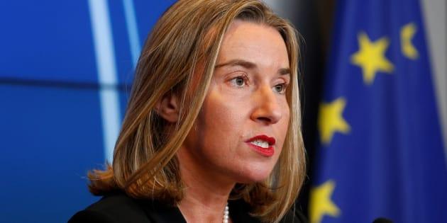 La jefa de la diplomacia europea, Federica Mogherini, ofrece una rueda de prensa este lunes.