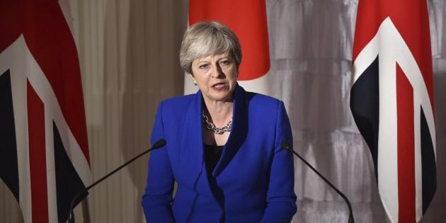 Imagen de archivo de la primera ministra británica, Theresa May, en Japón.