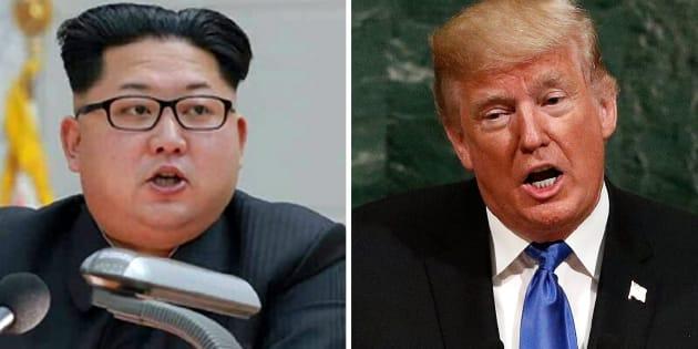 Combo de fotografías de archivo del líder norcoreano Kim Jong-un (i), y del presidente de Estados Unidos, Donald Trump.