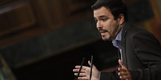 El diputado de Unidos Podemos Alberto Garzón durante su intervención en el Congreso de los Diputados.
