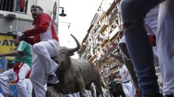 Las caídas protagonizan un quinto encierro de San Fermín